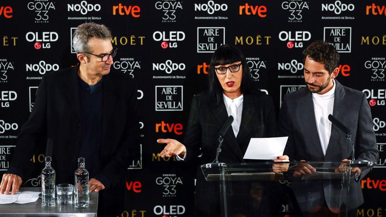 Foto: Mariano Barroso, Rossy de Palma y Paco León en la lectura de los nominados. (Efe)