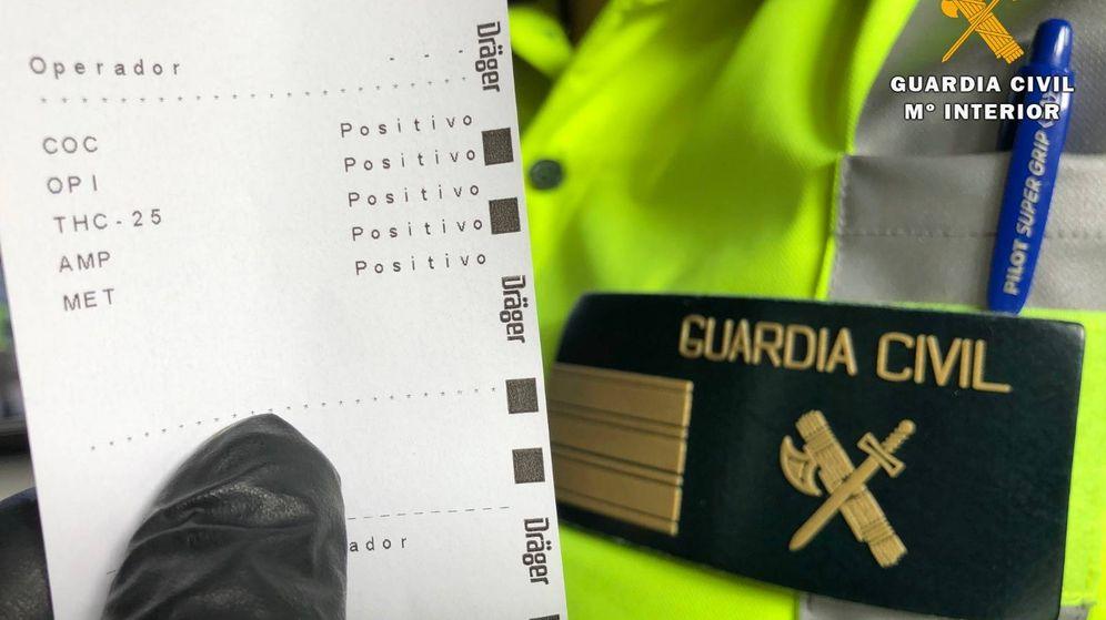 Foto: Resultados de la prueba de drogas. (Guardia Civil de la Rioja)