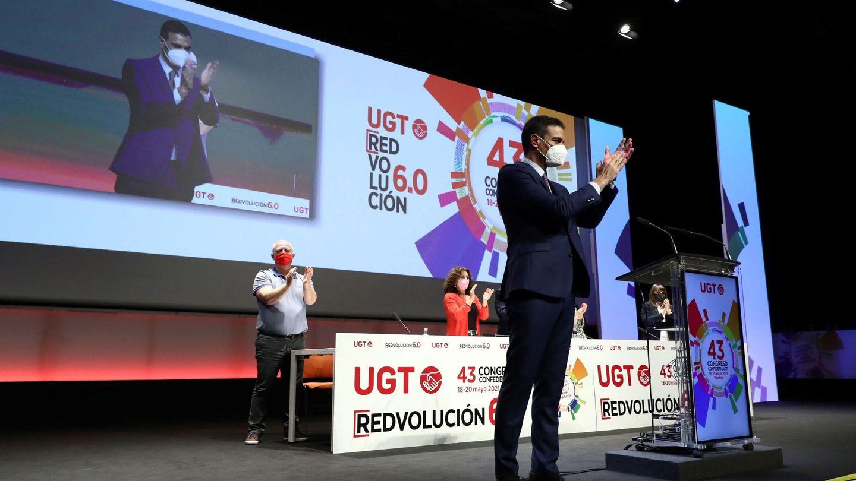 Pedro Sánchez, en el 43 Congreso Confederal de UGT celebrado en Valencia en mayo. (EFE)