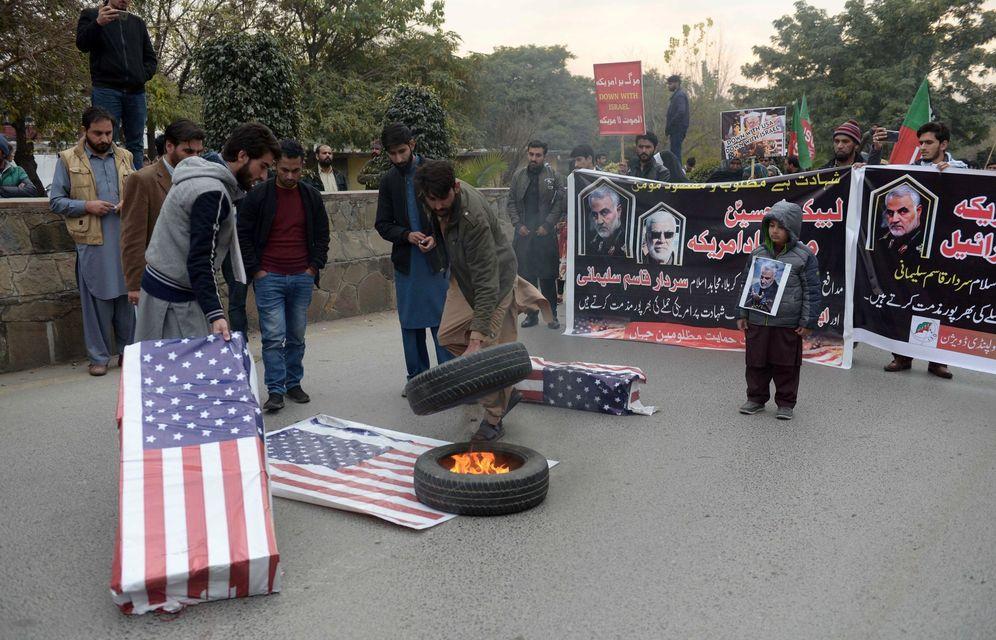 Foto: Protesta contra Estados Unidos por el asesinato de Soleimani. (EFE)