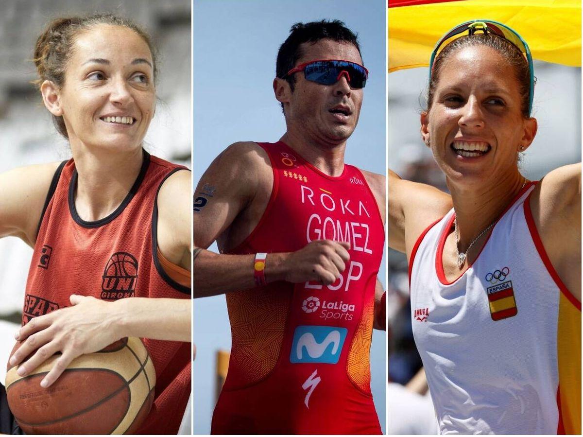 Foto: Laia Palau (izq.), Javier Gómez Noya (centro) y Teresa Portela (dcha.), atletas en Tokio 2020.