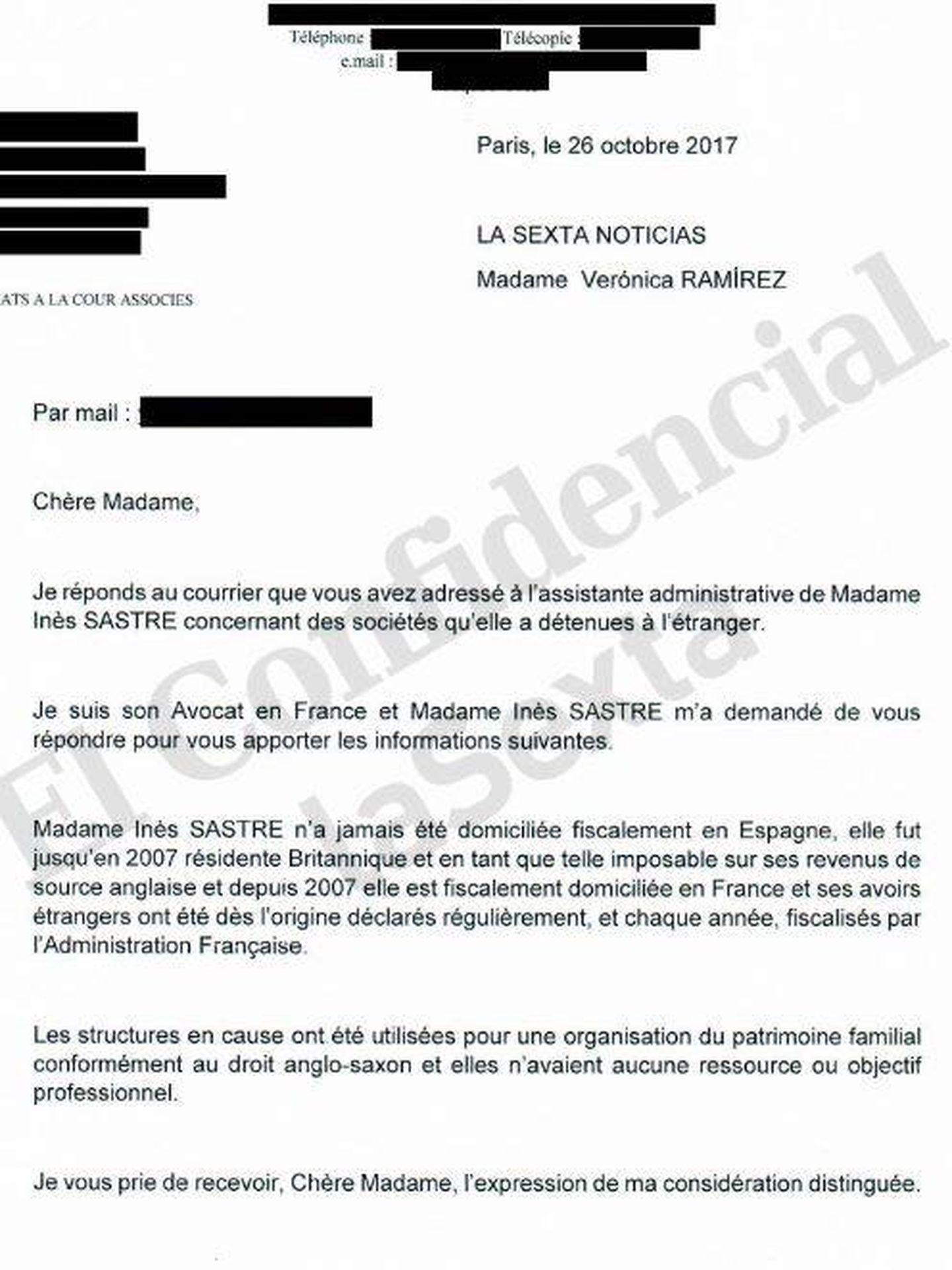 Carta de respuesta de los abogados de Inés Sastre.