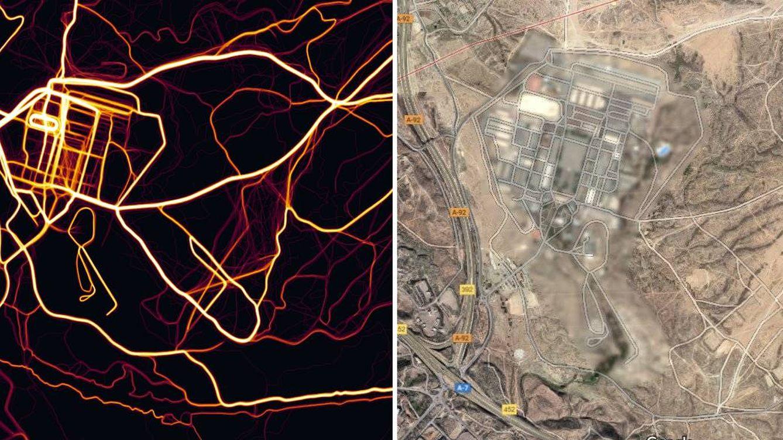 Foto: Base de Viator (Almeria) según se ve en el mapa de Strava y en Google Maps