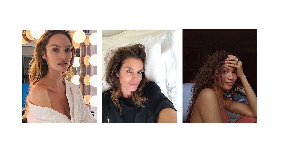 Foto: Candice Swanepoel, Cindy Crawford y Zendaya sin maquillaje. (Instagram)