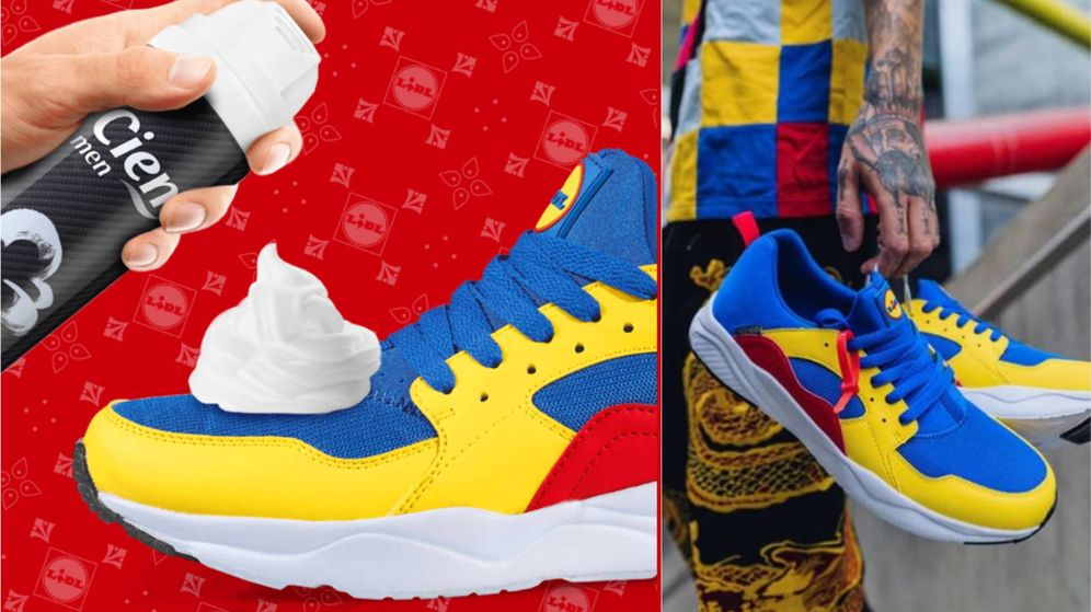 Foto: Imágenes promocionales de las zapatillas corporativas de Lidl en Facebook