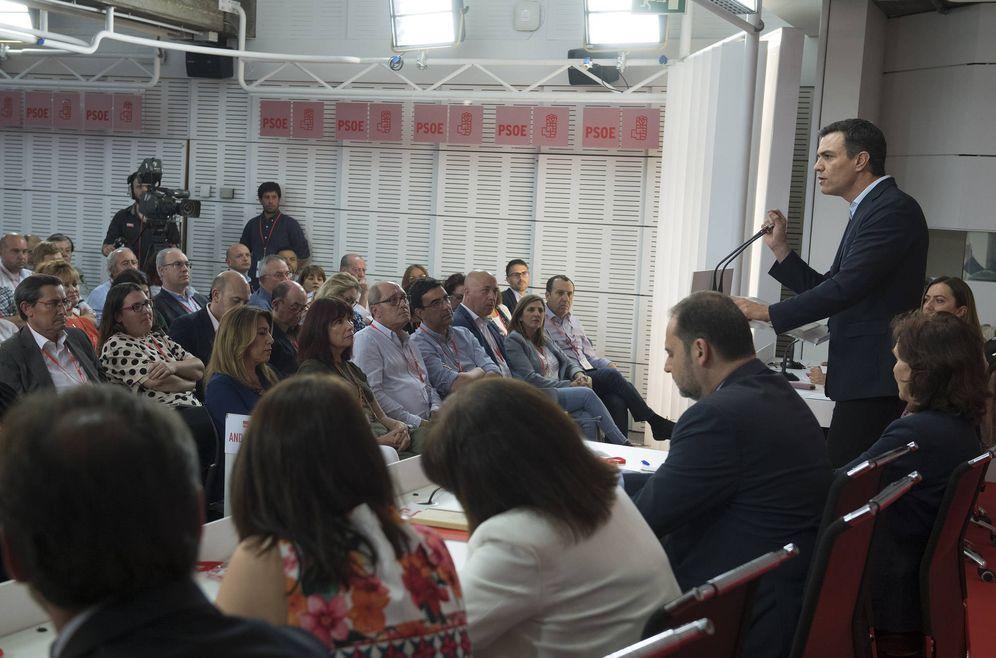 Foto: Pedro Sánchez, interviene en el comité federal del PSOE del pasado 28 de mayo en Ferraz. (Borja Puig | PSOE)