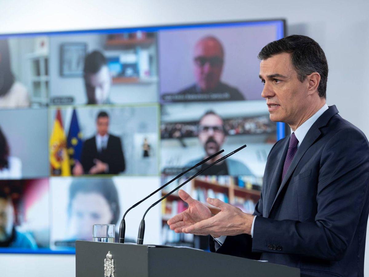 Foto: Pedro Sánchez, durante su comparecencia en la Moncloa de este 16 de mayo de 2020. (Borja Puig | Pool Moncloa)