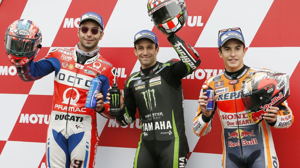 Foto: Los tres primeros clasificados en los entrenamientos oficiales del GP de Japón de MotoGP. (EFE)