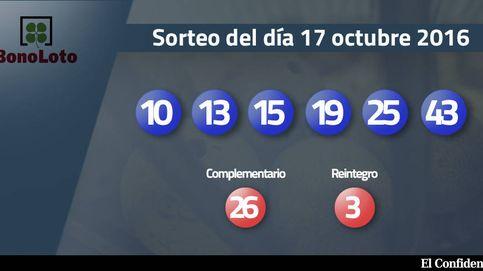 Resultados del sorteo de la Bonoloto del 17 de octubre de 2016: números 10, 13, 15, 19, 25, 43