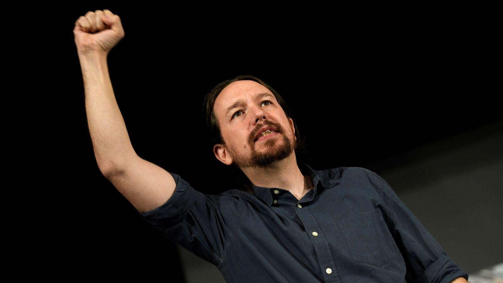 """Foto: Pablo Iglesias, durante el """"gran encuentro municipalista"""" celebrado por Podemos en Alcorcón. (EFE)"""