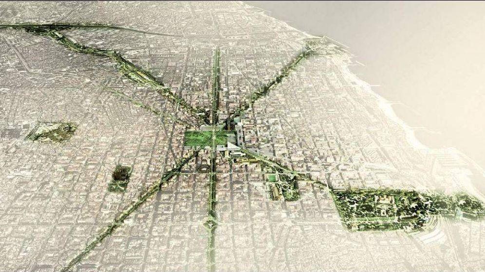 Foto: Vista aérea de Barcelona aparecida en el informe Plan Verde 2020.