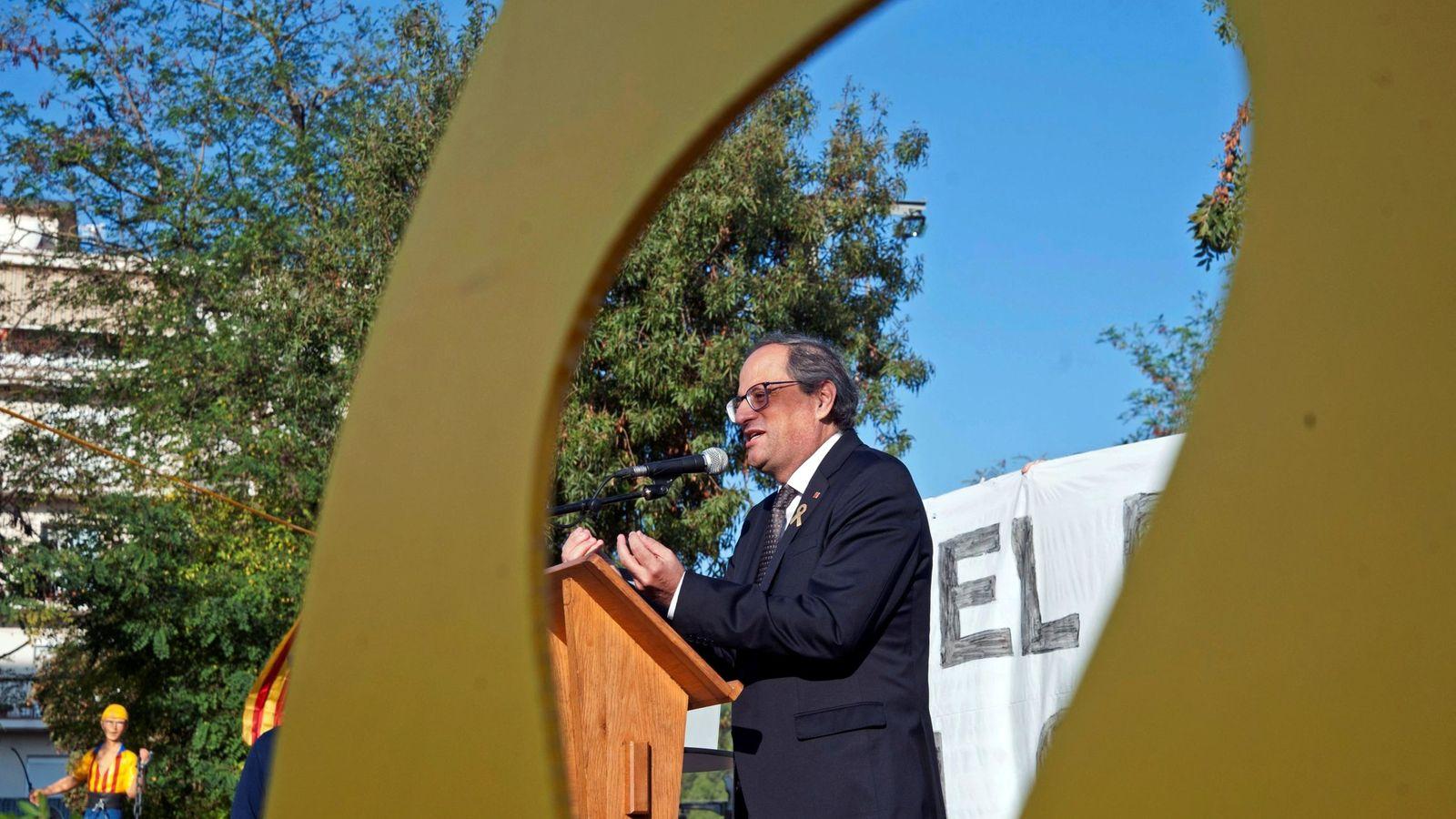 Foto: El 'president' de la Generalitat, Quim Torra, durante el homenaje del 1-O. (EFE)