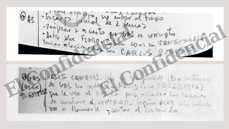 """Foto: Apuntes de Villarejo en 2008 y 2009. Arriba, tras hablar con Antonio Asenjo, escribió: """"Encargo formal de 2 temas"""". Uno era el espionaje a Florentino Pérez. Abajo, menciona a Asís Canales en el marco del proyecto Gipsy. (EC)"""