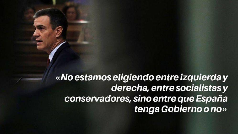 Foto: Frase de Pedro Sánchez, durante el debate de investidura. (Reuters/EC)