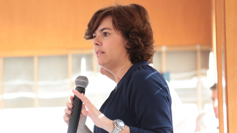 Soraya Sáenz de Santamaría, durante la charla con los militantes.