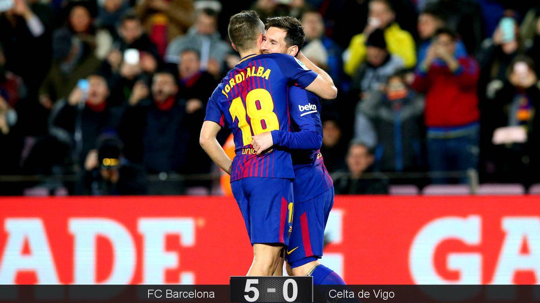 Foto: Alba y Messi celebran uno de sus goles. (Reuters)