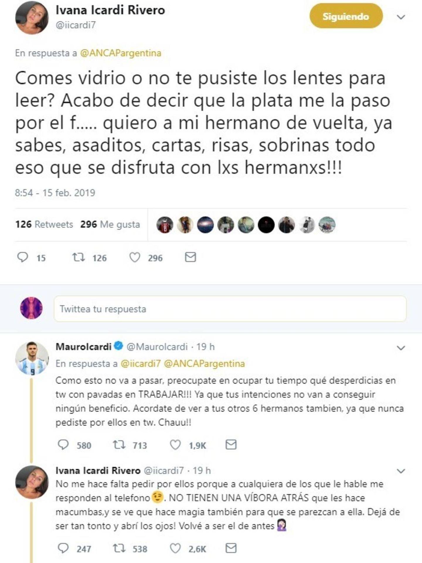 Cruce de reproches entre Icardi y su hermana. (Twitter)