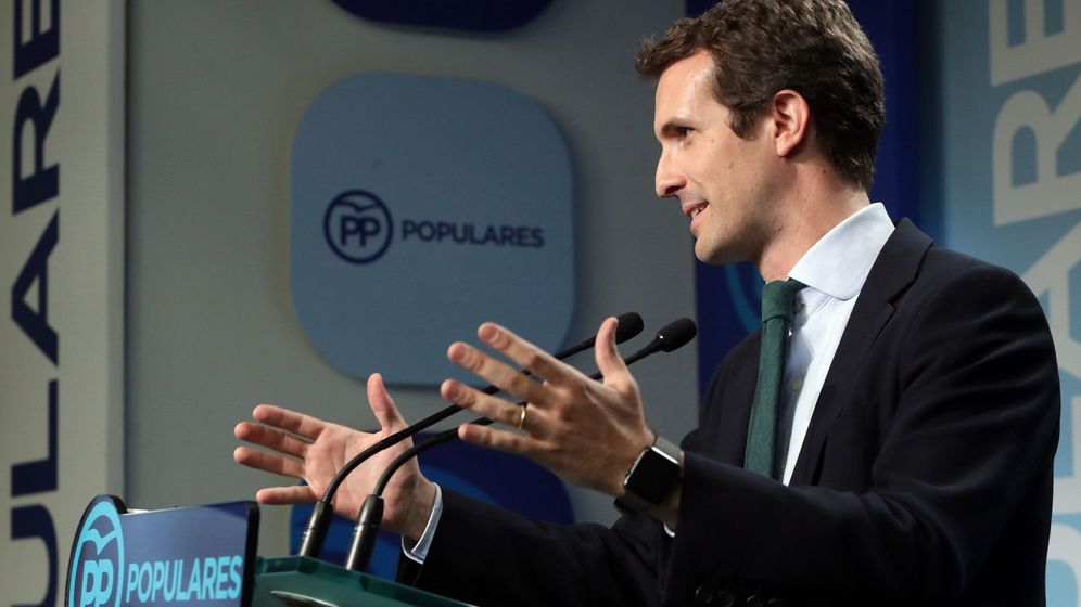 Foto: Pablo Casado, durante la rueda de prensa en Génova. (EFE)