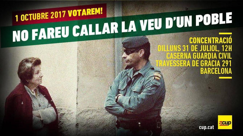 La CUP convoca al pueblo catalán en el cuartel de la Guardia Civil de Barcelona