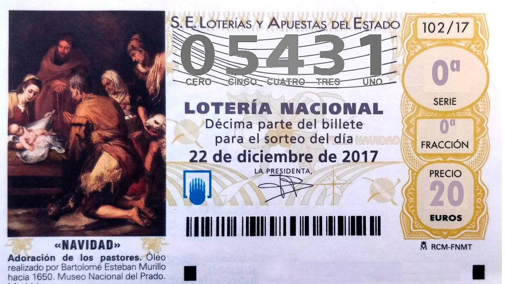 El 05.431  se lleva el segundo quinto premio de la Lotería de Navidad