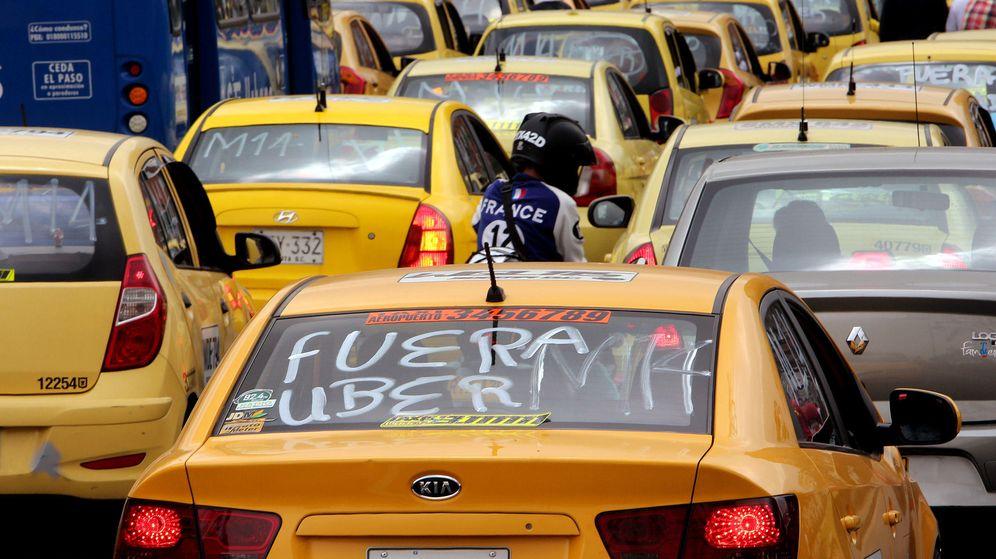 Foto:  Manifestación contra Uber en Bogotá (Foto: EFE)