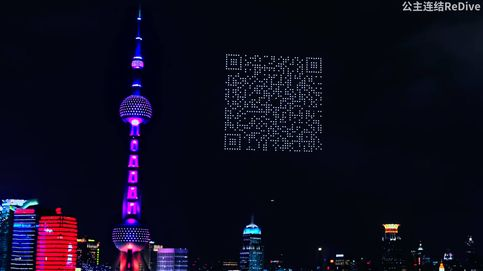 Un ejército de drones forma un código QR en televisión para descargar un juego