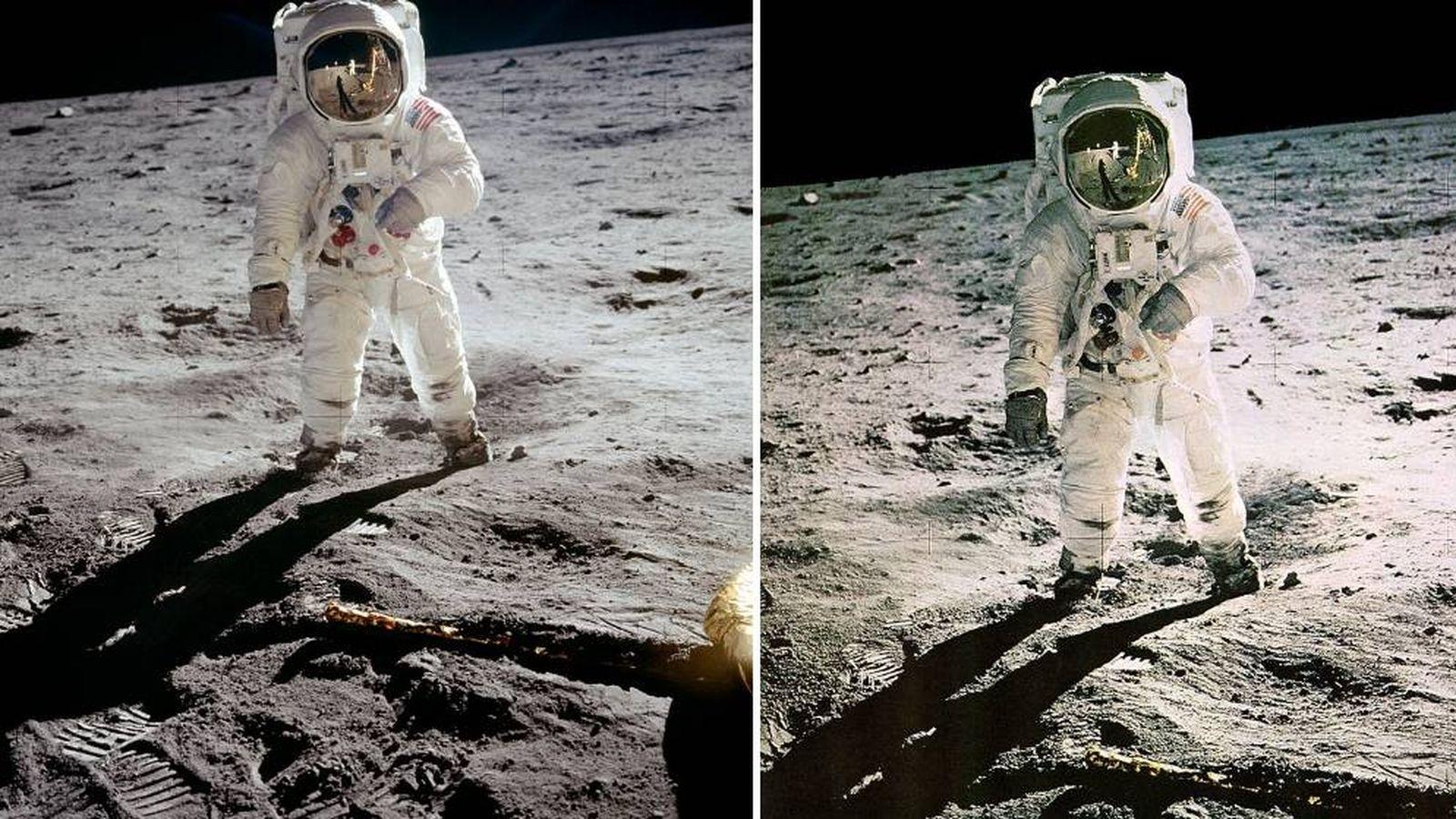 Foto: A la izquierda, la fotografía original; a la derecha, la retocada por la NASA. (Foto: NASA)