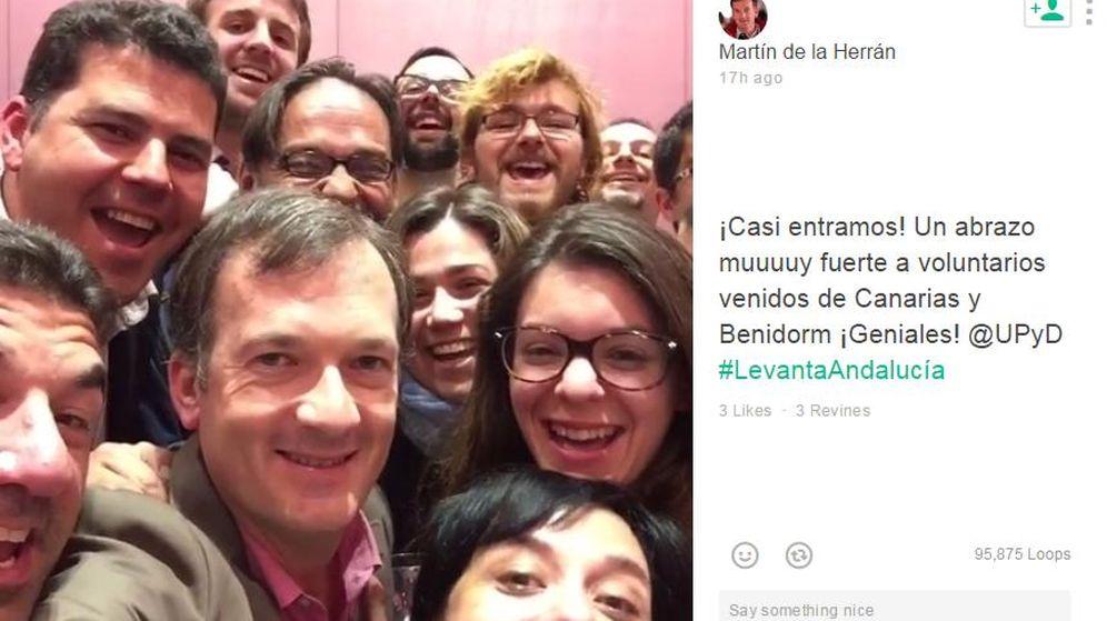 Foto: El equipo de campaña de Herrán momentos después de hacerse públicos los malos resultados de UPyD (VINE)