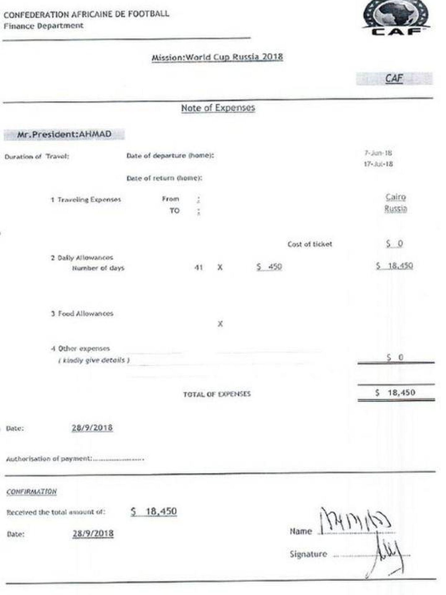 Dietas pagadas por la CAF a su presidente por su estancia en el Mundial. Documento firmado por él como que recibió ese dinero. Es un pago ilegal, ya que la FIFA era el único organismo que debía pagarle por ese concepto como miembro de su Consejo. La CAF no tiene nada que ver en la organización de un Mundial.