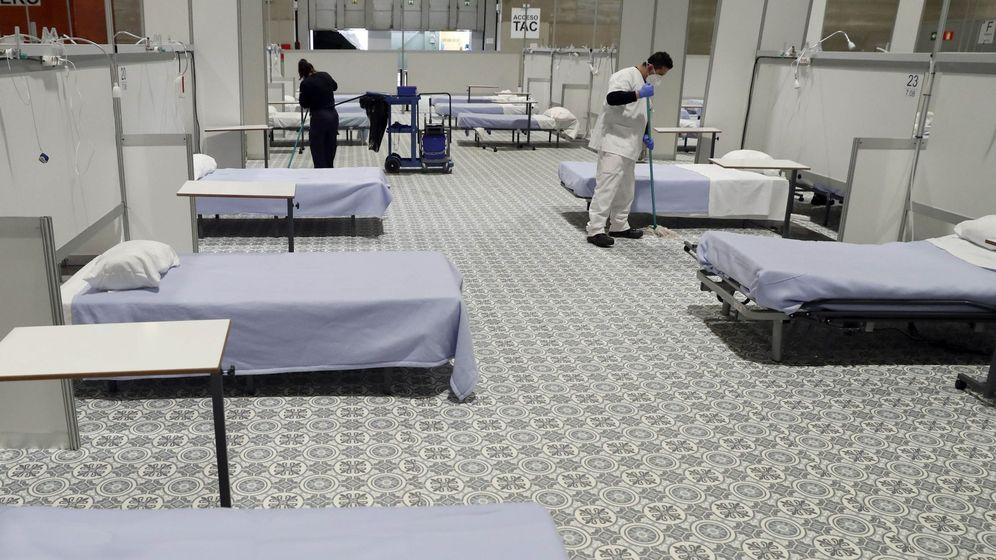 Foto: El pabellón 7 de Ifema, este lunes, ya desinfectado y cerrado gracias al menor número de pacientes. (EFE)
