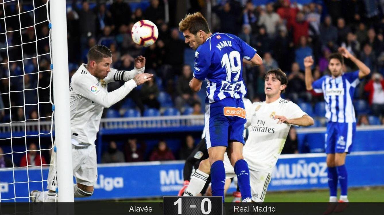 Foto: El gol de Manu García para darle la victoria al Alavés ante el Real Madrid. (EFE)