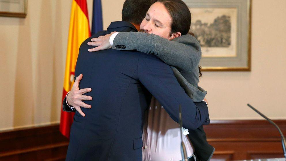 El pacto del abrazo: Sánchez citó a Iglesias y Montero lo perfiló con Redondo y Lastra