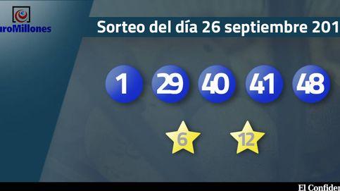 Resultados del sorteo del Euromillones del 26 septiembre de 2017: números 1, 29, 40, 41 y 48