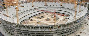 La obra del Nuevo Mestalla lleva más tiempo parada que en construcción
