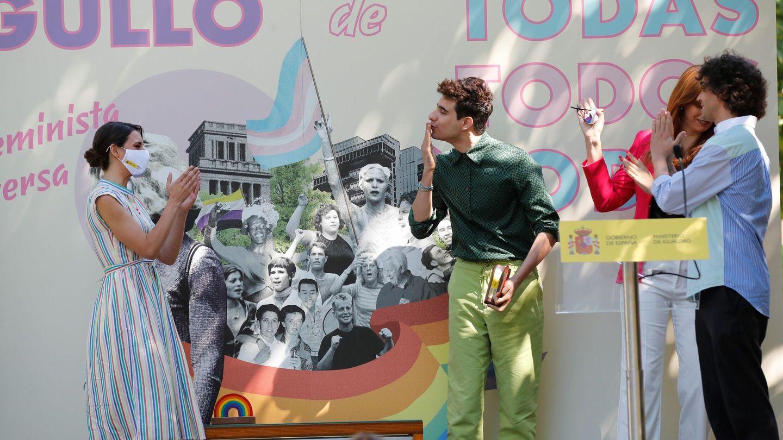 Irene Montero, a la izquierda, en un reciente acto.