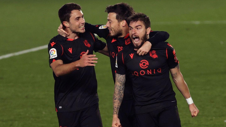 Portu celebra el gol de la Real Sociedad. (EFE)