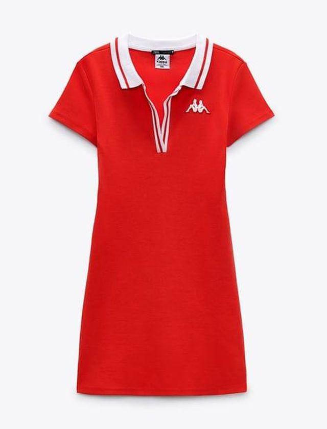 Vestido polo rojo, Zara en colaboración con Kappa. ZARA.