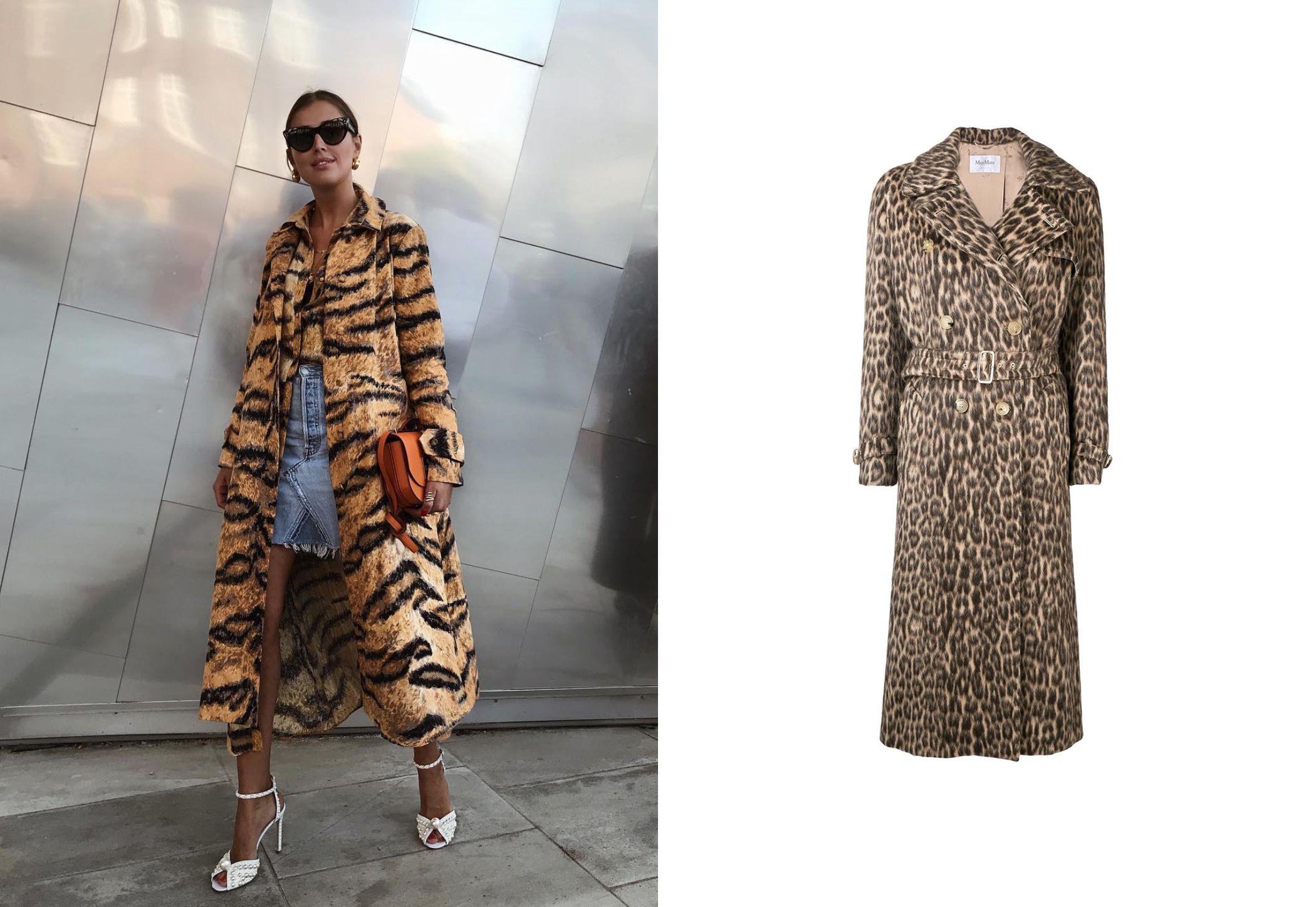 De izq a dcha: Darja Barannik con abrigo animal print firmado por Hofmann Copenhagen y trench de leopardo con doble botonadura y cinturón con hebilla metálica de Max Mara, 1.557 €. (@darjabarannik y cortesía de la marca)