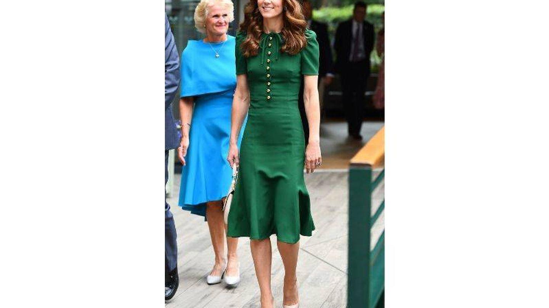 Kate Middleton con el vestido que llevó el día doce de Wimbledon 2019. (Getty)