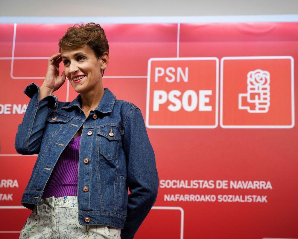 Foto: María Chivite, en un acto en la sede del PSN en Pamplona. (EFE)
