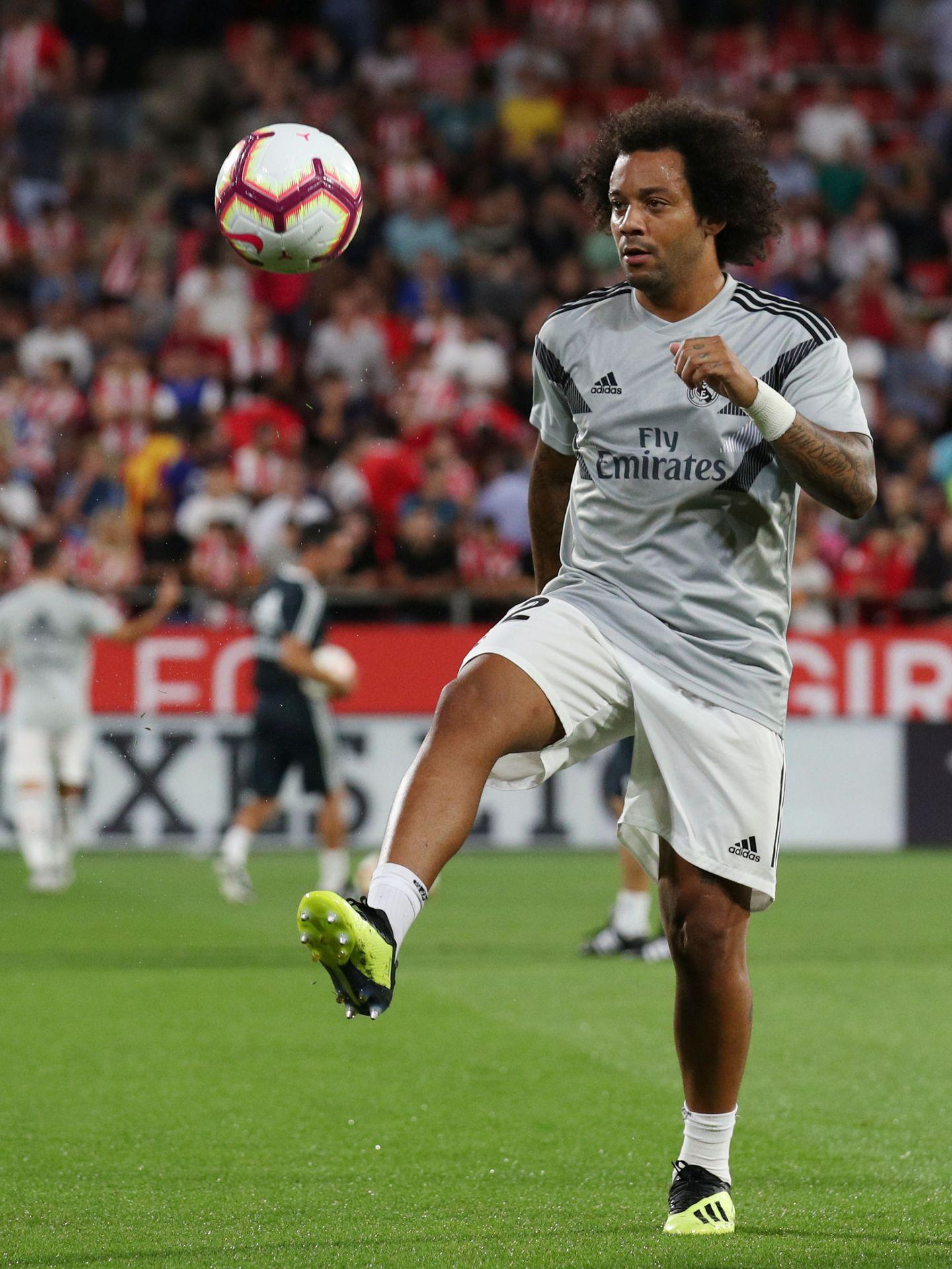 Marcelo, en el calentamiento. (Efe)
