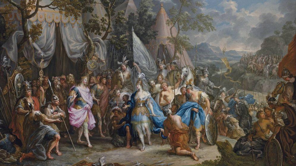 Foto: 'La reina amazona Talestris en el campamento de Alejandro el Grande', de Johann Georg Platzer.