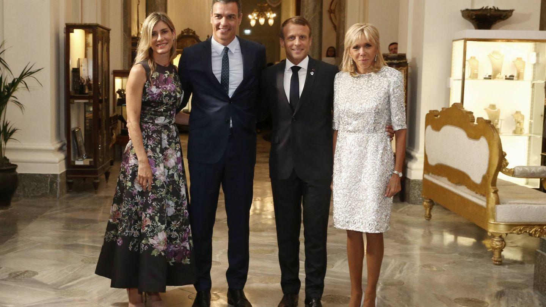 Begoña Gómez, Pedro Sánchez, Macron y Brigitte. (Archivo)