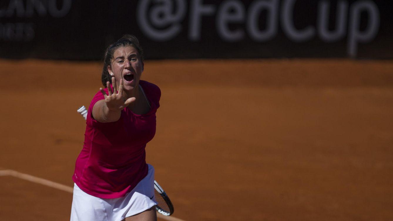 Foto: Sara Sorribes dio el primer punto a España (Efe)