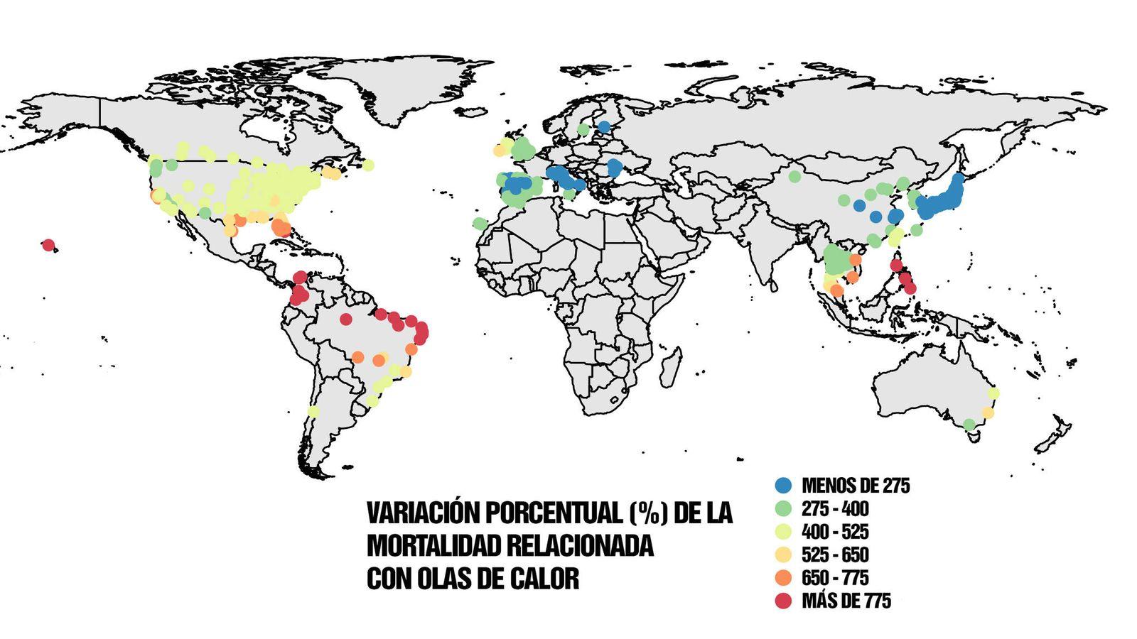 Foto: Variación de la mortalidad durante las olas de calor. (CSIF)