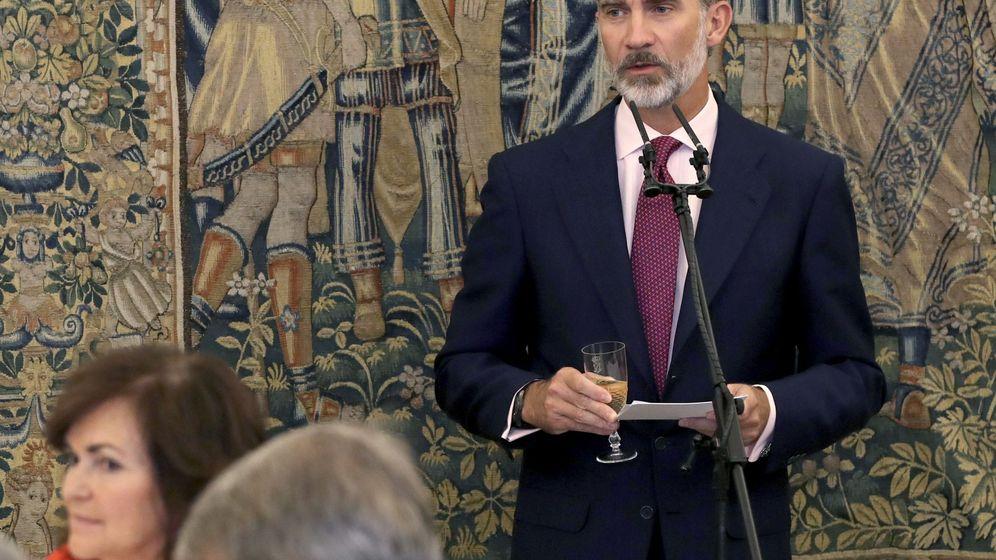 Foto: El rey Felipe en su intervención durante el almuerzo celebrado con motivo de la reunión del Patronato del Instituto Cervantes. (EFE)