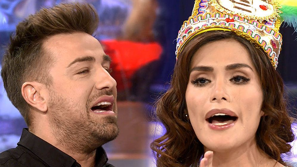 Foto: Rafa Mora y Miriam Saavedra, en 'Sábado Deluxe'. (Mediaset).