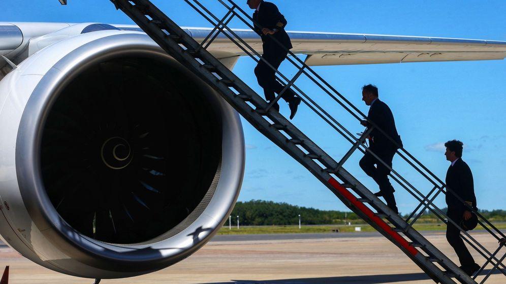 Foto: Presentación de un modelo Airbus A350 en el Aeropuerto de Buenos Aires, en 2019. (EFE)