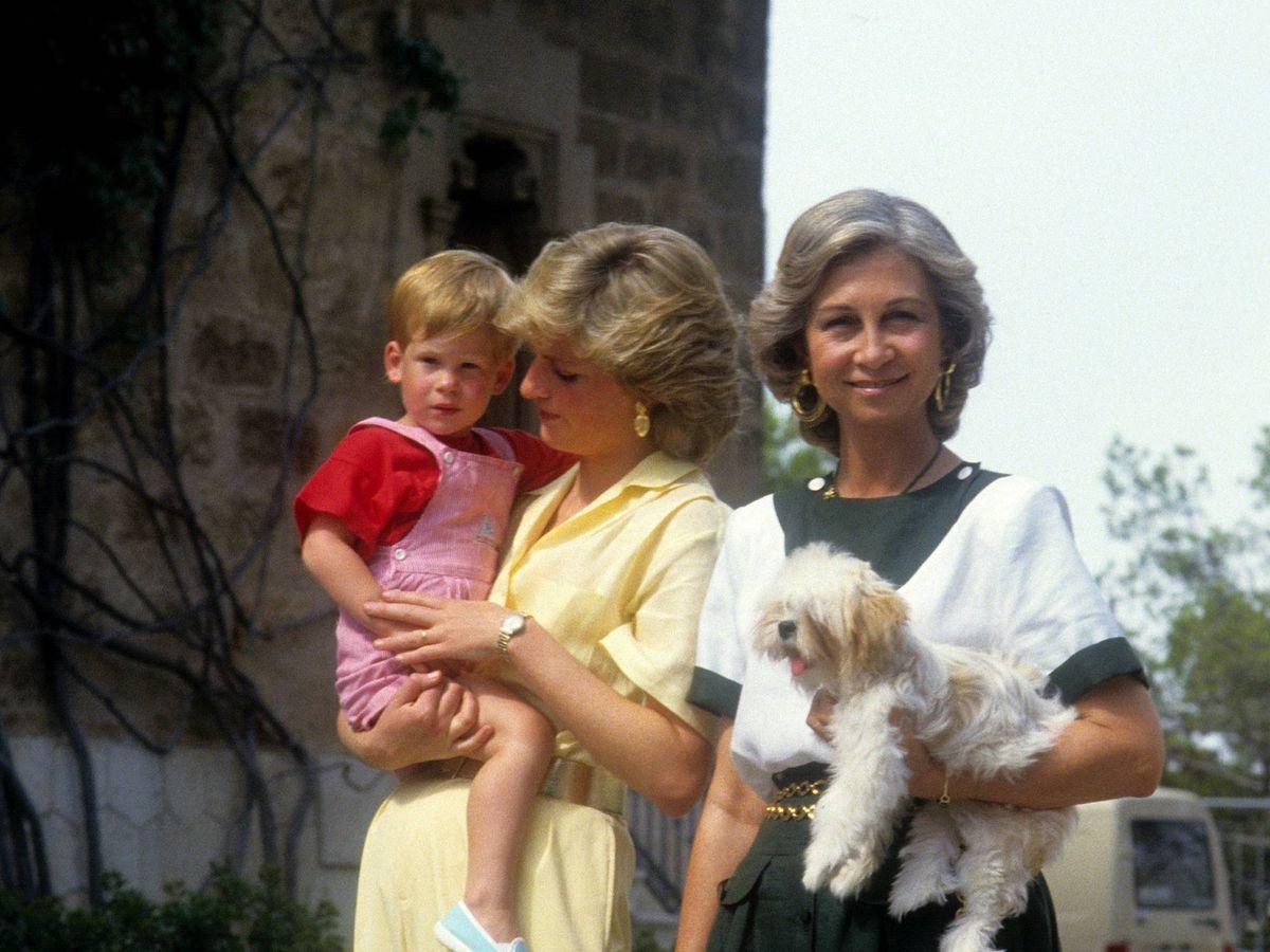 Foto: Diana de Gales, con su hijo Harry junto a la reina Sofía y el perro de esta en Mallorca. (Cordon Press)