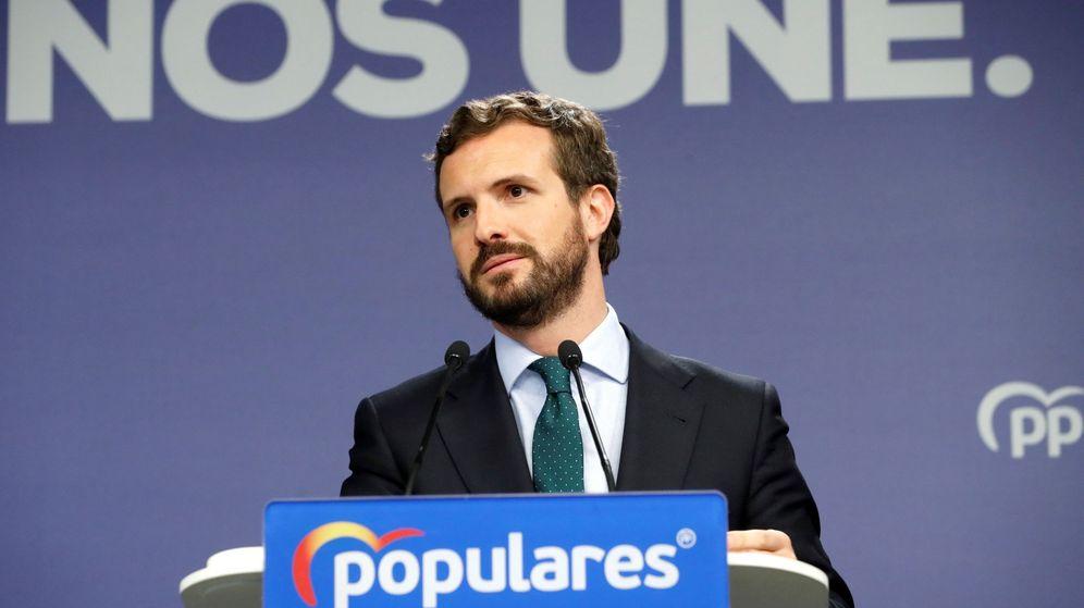 Foto: El líder del PP, Pablo Casado, en una rueda de prensa. (EFE)